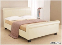 Aurora Cream Faux Leather Bedstead